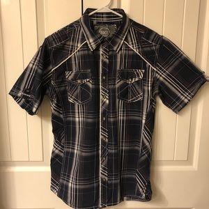 BKE Plaid Short Sleeve Athletic Fit Shirt